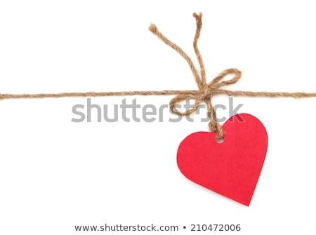 Stok fotoğraf: Karton · etiket · kırmızı · kalp · şerit · yalıtılmış