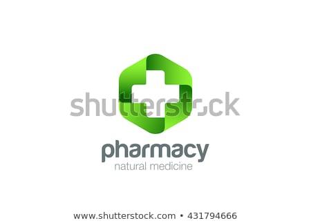 vektör · logo · yeşil · çapraz · eczane - stok fotoğraf © butenkow