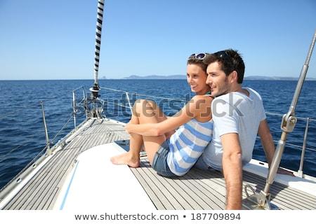 Stockfoto: Paar · zeilboot · dek · naar · wazig · vrouw