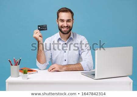 nő · mutat · netbook · laptop · izgatott · ül - stock fotó © elnur