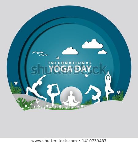 Internacional yoga día sol luz energía Foto stock © shawlinmohd