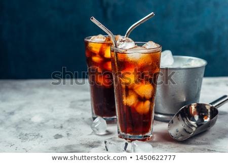Jeges ital lövés vörösáfonya dzsúz üveg Stock fotó © Digifoodstock