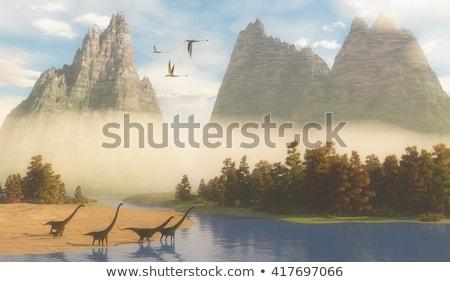 динозавр среда обитания иллюстрация пейзаж фон тропические Сток-фото © ConceptCafe