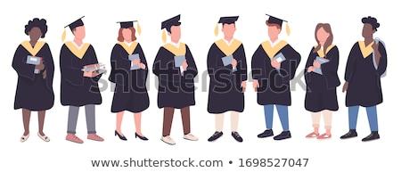 acht · bachelors · witte · glimlach · gezicht · ontwerp - stockfoto © bluering