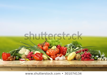 Friss zöldségek asztal illusztráció háttér konyha művészet Stock fotó © bluering