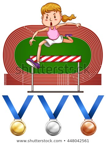 Girl doing hurdles run and medals Stock photo © bluering