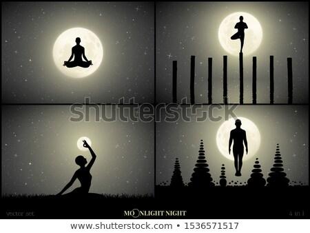 Hombre yoga luz de la luna ilustración deporte naturaleza Foto stock © adrenalina