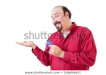 Középkorú férfi hitelkártya kéz mosolyog gesztikulál fehér Stock fotó © ozgur