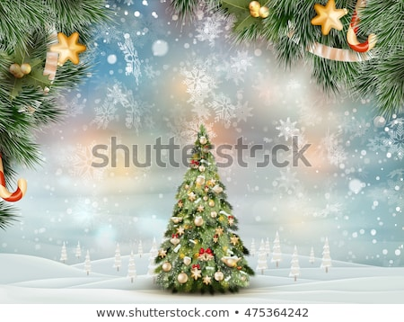 Christmas landscape with christmas tree. EPS 10 Stock photo © beholdereye