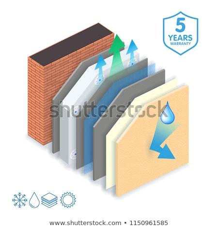 Polystyrene wall insulation 3d scheme Stock photo © day908
