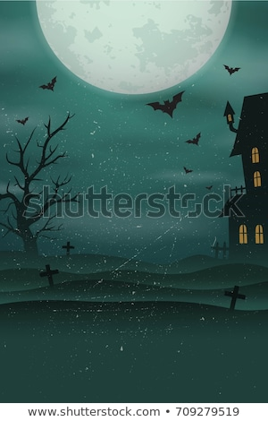 Foggy graveyard with pumpkin lights Stock photo © klss