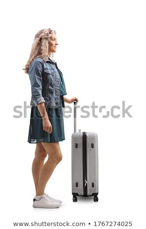 Stockfoto: Vrouw · koffer · geïsoleerd · witte · sexy · mode
