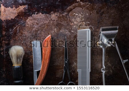 Vintage barber concept with rusty razor Stock photo © andreasberheide