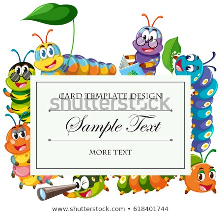 Card template with caterpillars around border Stock photo © bluering
