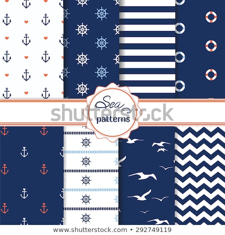 Zestaw bezszwowy morski wzorców statku koła Zdjęcia stock © pakete