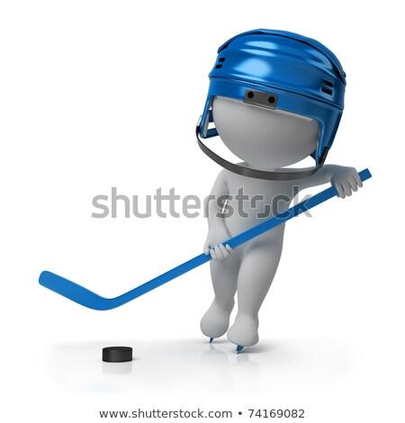 3D kicsi emberek jégkorong személy jégkorongozó Stock fotó © AnatolyM