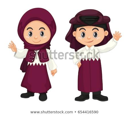 Crianças roxo traje ilustração menina feliz Foto stock © bluering