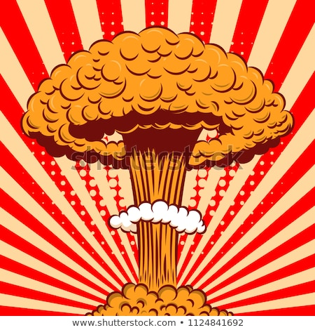 Stockfoto: Nucleaire · explosie · cartoon · retro · poster · champignon
