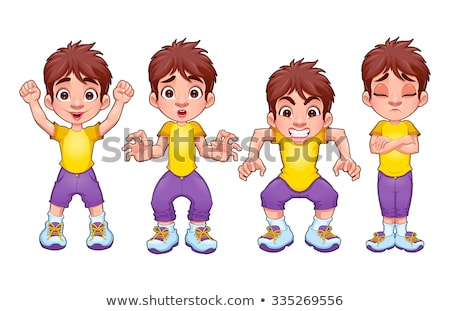 Four poses of the same child, in different expressions Stock photo © ddraw