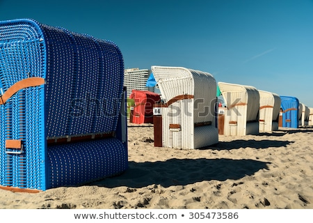 Foto stock: Europeu · praia · cadeiras · verão · nascer · do · sol