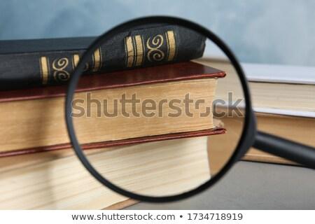 Learn Literature through Loupe on Old Paper. Stock photo © tashatuvango