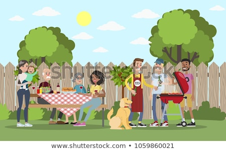Stock photo: Family weekend - cartoon people characters illustration