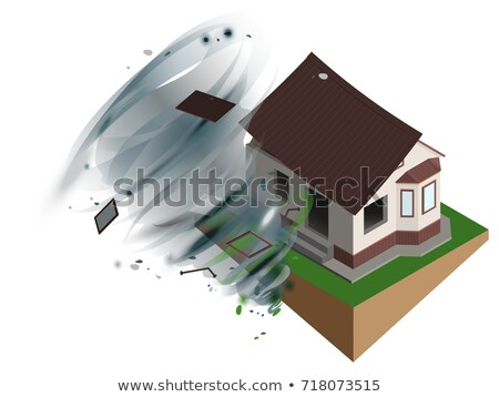 Stock photo: Strong wind hurricane ripped off roof of house. Home Insurance