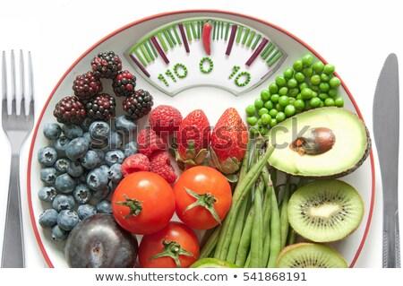 Detoxikáló fürdőszoba mérleg gyümölcsök zöldségek egészség Stock fotó © unikpix