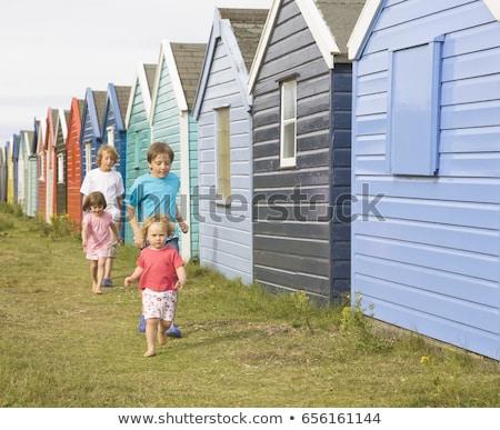 çocuklar çalışma geçmiş plaj çim çocuk Stok fotoğraf © IS2