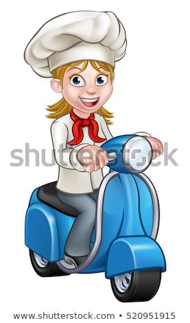 Cartoon Woman Delivery Scooter Chef Stock photo © Krisdog
