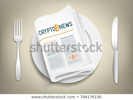 Valuta giornale piatto bitcoin news forcella Foto d'archivio © romvo