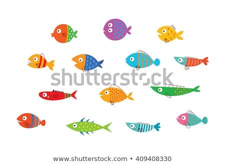 Cute vis bubbels glimlach achtergrond oranje Stockfoto © NikoDzhi