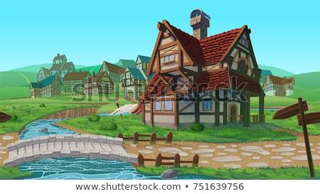 木製 住宅 村 雪 冬 1泊 ストックフォト © vapi