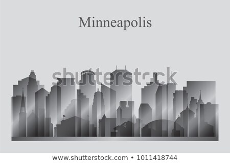 minneapolis city skyline silhouette in grayscale stock photo © ray_of_light