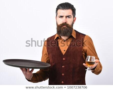 Mão bandeja vidro brandy conhaque branco Foto stock © DenisMArt