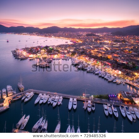 aerial view of boats and beautiful city at night in marmaris stock photo © denbelitsky