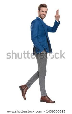 Foto stock: Jovem · elegante · homem · caminhada · mão · bolso