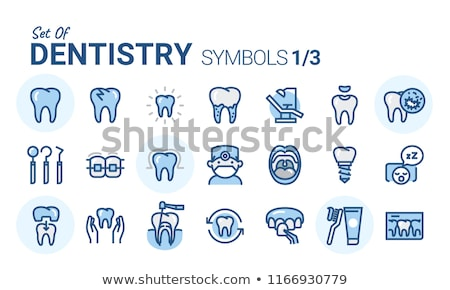 dents · dentiste · symbole · vecteur · bleu · blanche - photo stock © Vicasso