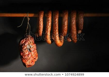 impiccagione · affumicato · carne · di · maiale · pancetta · poco · profondo · focus - foto d'archivio © milsiart