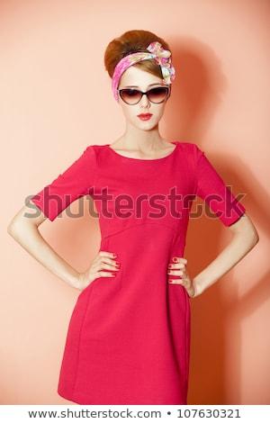 Portret dziewczyna 60s stylu kobiet czerwony Zdjęcia stock © Massonforstock