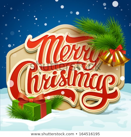 vidám · karácsony · illusztráció · tipográfia · mágikus · hó - stock fotó © articular