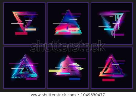 glitch triangle shape design set stock photo © romvo