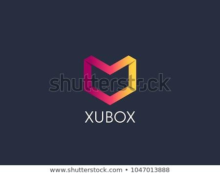 abstract geometric hexagonal cube box logo icon for corporate business, apps, data technology. symbo stock photo © taufik_al_amin