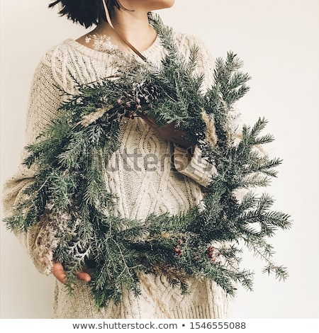 Christmas wreath of spruce branches. Decoration for winter holid Stock photo © popaukropa