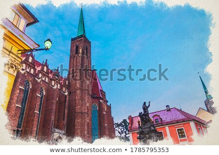 Wroclaw Collegiate Church at night Stock photo © benkrut