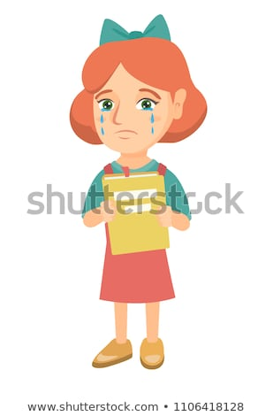 Kaukasisch ontdaan meisje boek tranen meisje Stockfoto © RAStudio