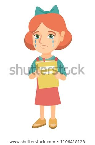 Zdjęcia stock: Caucasian Upset Girl With Book Shedding Tears