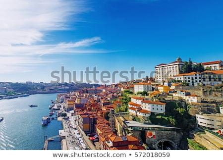 Stockfoto: Zonsondergang · Portugal · skyline · brug · voorgrond · water