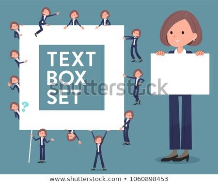 black jacket pants business woman text box stock photo © toyotoyo