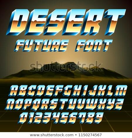 80s çöl alfabe sayılar Retro scifi Stok fotoğraf © timurock